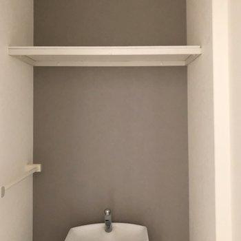 上部には棚もありました。突っ張り棒でカーテンを作って、目隠しにしてもいいですね。(※写真は3階の号間取り別部屋のものです)