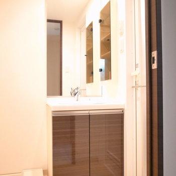 大きめの鏡なら、支度もしやすいですね。(※写真は3階の同間取り別部屋のものです)