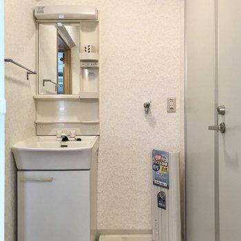 サニタリーは玄関側に。スリムな洗面台です