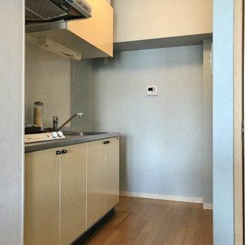 冷蔵庫は1番奥に。壁際にも小さめのラックなら置けるかな?(※写真の小物は見本です)
