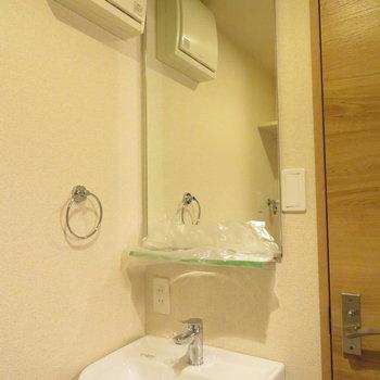 シンプルな洗面台(※写真は4階の反転間取り別部屋のものです)
