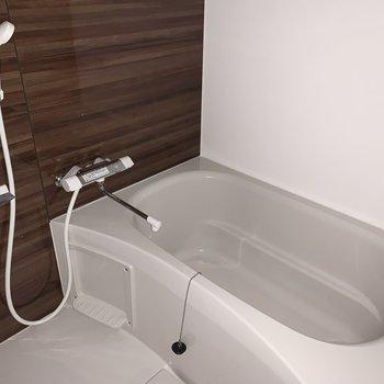 新しくなったゆったり浴室で、ゆっくり疲れを癒せます◎(※写真は4階の反転間取り別部屋、通電前のものです)