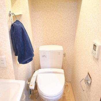 浴室の向かいにトイレです。収納スペースもあります!