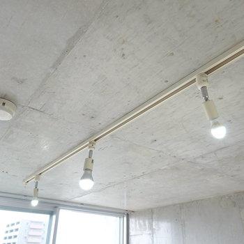 照明はダクトレールに付いたスポットライト。照明でも遊べちゃいますよ◎(※写真は10階の同間取り別部屋のものです)