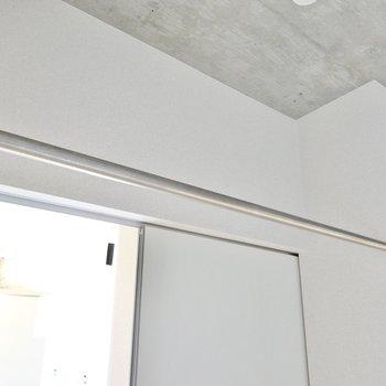ドアの前にはハンガーパイプ付き。魅せるオープン収納を楽しみましょう。(※写真は10階の同間取り別部屋のものです)