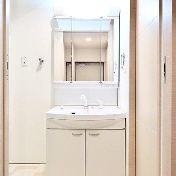 脱衣所に入って正面には洗面台。大きな鏡の裏は収納に。