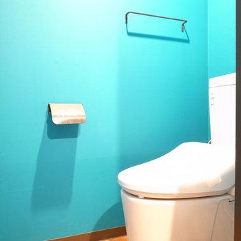居室から一転、トイレはなんと鮮やかなターコイズブルー!※写真は前回募集時のものです