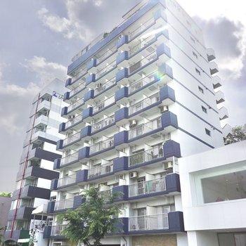 ネイビーがアクセントになった外観。11階建て鉄筋コンクリート造マンションの2階のお部屋です。