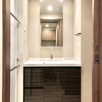スッキリとした見た目の洗面台。鏡部分には収納も可能です。