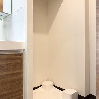 洗面台のお隣に洗濯機置き場があります。