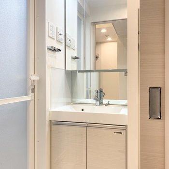 大きな鏡の洗面台です。※写真は1階の反転間取り別部屋のものです