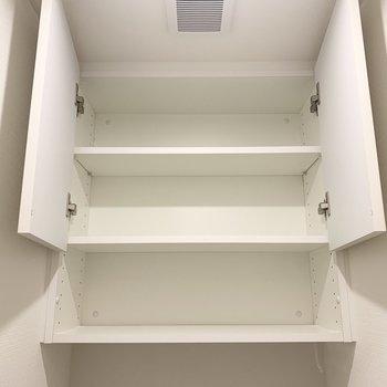 上部の収納。トイレットペーパーや掃除道具を入れられますね。※写真は1階の反転間取り別部屋のものです