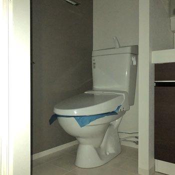 洗面台の左隣にはトイレが。※写真は通電前のものです※写真は通電前のため、フラッシュを使用しています