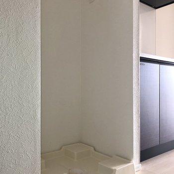 左隣には洗濯機置き場がありました。