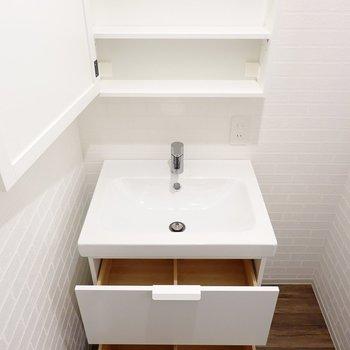 鏡の後ろは収納に。シンク下は木材で飾るような収納を心掛けたくなる。