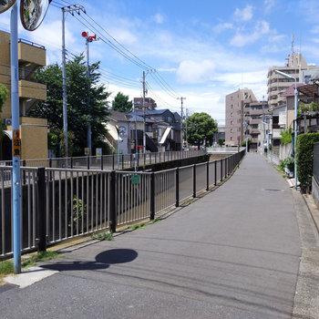 近くには神田川が流れています。