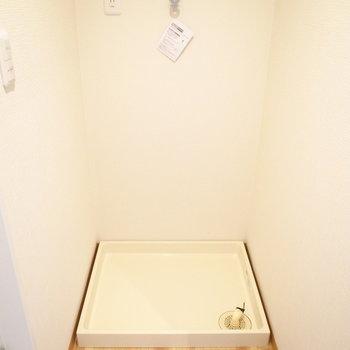 洗濯パンは脱衣所に。脱衣所はお風呂とやや離れた形になってます。