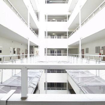 【共用部】各階の廊下は吹き抜けになっていて開放的。