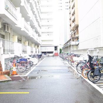 【共用部】駐輪場は建物の裏手にあります。