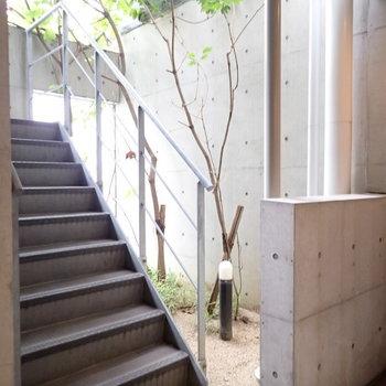 共用部】1階には木もあって和みます。