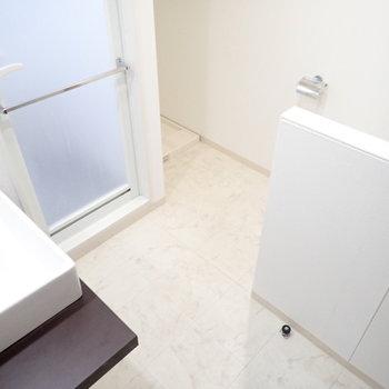 左から洗面台、お風呂、洗濯機、隠れていますがトイレという配置です。