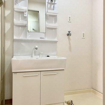 脱衣所には機能的な洗面台と洗濯機置き場が。