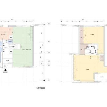 メゾネットタイプの2LDK。左側が玄関のある5階部分、右側が4階部分になります。