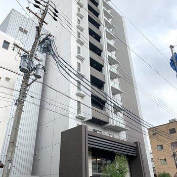 中心地に近い場所に建つ13階建ての鉄筋コンクリートマンションです。