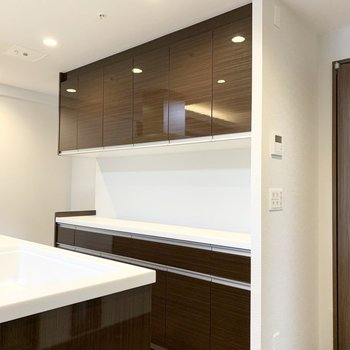 背面には収納がたっぷり設置されていますので、キッチン家電や食器もしっかり収まります。