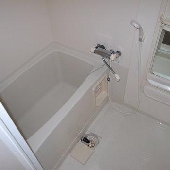 お風呂はおひとり用のコンパクトタイプ。 ※こちらはフラッシュを使用しています。