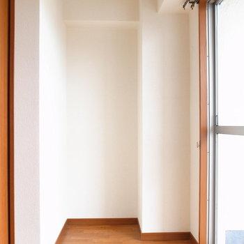 【洋室(収納あり)】本棚を置こうかなぁ。それか植物の特等席でもいいかも。