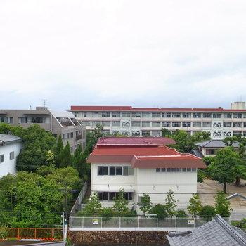 【和室】大きな窓からは学校の赤い屋根と濃い緑を望めます。