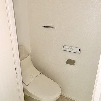 トイレは玄関入ってすぐ左です。※写真は通電前のもの・フラッシュを使用しています