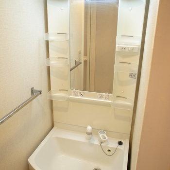 洗面脱衣所はコンパクト。浴室を出て左に洗面台です。