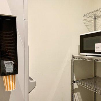 【共用部】電子レンジもあるのでテイクアウトした食事の温め直しにも困りません。