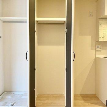 クローゼットは縦長な印象。中に衣装ケースなど積むと空間を有効活用できそうですね。