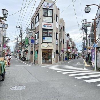 駅前。商店街が3つの路地に分かれています。