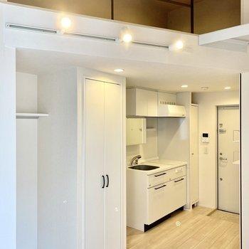 ダウンライトとスポットライトがお部屋を照らします。