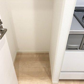 左横に冷蔵庫を置くスペースもあります。