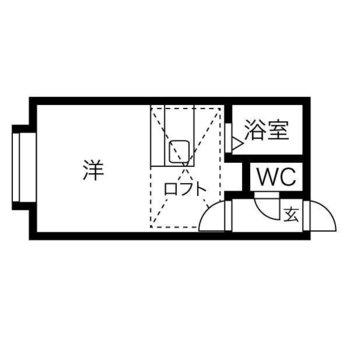 約9帖の洋室+約3帖のロフトのあるお部屋。