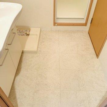 脱衣所は広々スペースです。正面がバスルームで、右側はお手洗い。