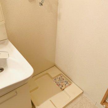 その右側には洗濯機置き場。