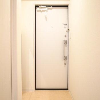 ゆったりした玄関。左の陰にシューズボックスが。