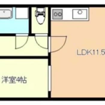 ゆったりしたLDKとコンパクトな洋室が対照的なお部屋。