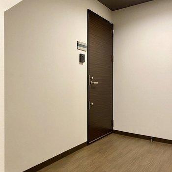玄関前共用部。ブラウンなど落ち着いた色合いの空間です。