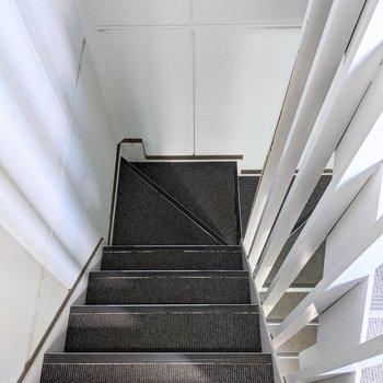 階段は屋内で、てすりなし、やや急です。