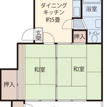 DK+和室が2部屋の2DKタイプです。※反転タイプあり