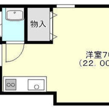 ひとり暮らし向けのワンルームです。