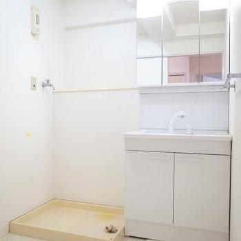 浴室を出て左手に、洗面台と洗濯機置き場です。