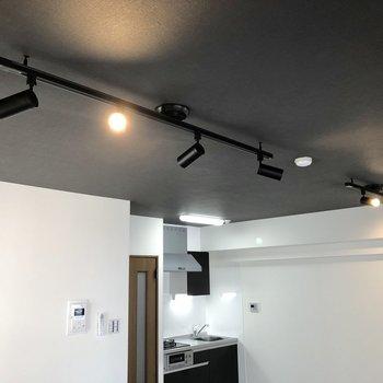 天井にはスポットライトが輝きます。